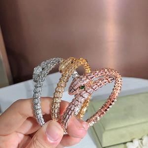 Dourado Broca Completa Snake Senhora Pulseira Personalidade Moda Trend Braceletes Mulheres Frete Grátis Twinkle Dance Party Presente Dando nobre