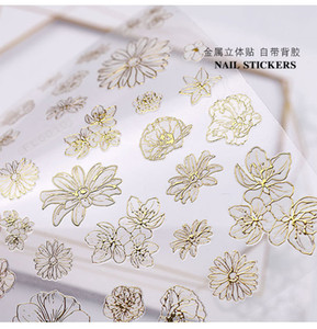 Nail Art Stickers Decals Self-adhesive Gold Color Flower Straight Line Save Break line Lace Moon Stars Loving Heart 3D DIY Can Mix Design