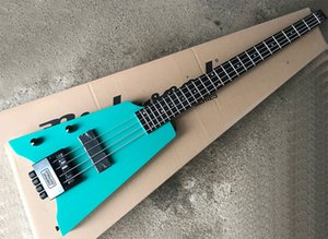 Free Shipping Left Handed 4 Strings Headless Blue Electric Bass with Floyd Rose,24 Frets,Rosewood Fretboard