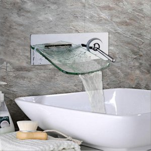 Wall Mounted Waterfall Glass Spout Chrome Brass Bathroom Faucet Single Handle Hot And Cold Mixer Tap