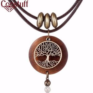 2019 gargantillas Mujer Collares Joyería vintage Diseño de árbol Colgante de madera Collar largo para mujer collares mujer kolye