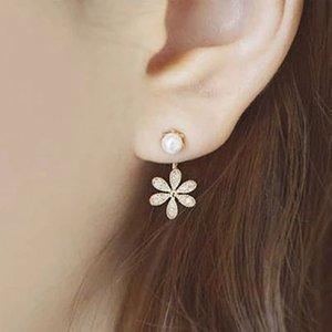 Corea nueva joyería pequeña fragancia Lady Pearl Crystal Five-leaf Flower Stud Pendientes