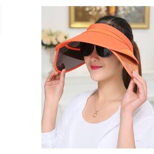 2019 Yeni Moda Kadınlar UV Koruma Klipsli Geniş Brim Sun Şapka Kap Geri Çekilebilir Visor Ile Anti-Ultraviyole Açık Şapka Ayarlanabilir Boyutu