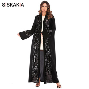 Siskakia Moda Sequins Patchwork Mulheres Abaya Primavera 2019 Chegada nova muçulmana Cardigan Túnicas Preto Ramadan Roupa Magro Sash