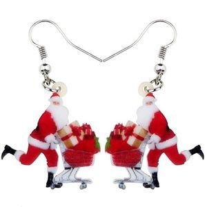 Acryl Frohe Weihnachten Einkaufen Santa Claus Geschenk Ohrring-Tropfen baumeln Dekoration Ornamente Schmucksachen für Frauen-Mädchen-Bijoux