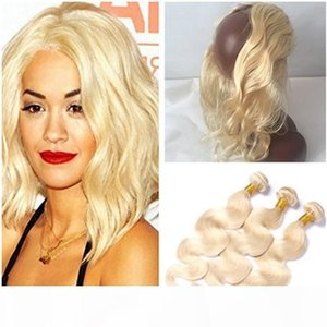 # 613 Loiro Virgin brasileiros Tece cabelo humano com 360 frontal da onda do corpo loira 360 22.5x4x2 Banda Lace frontal Encerramento com 3Bundles