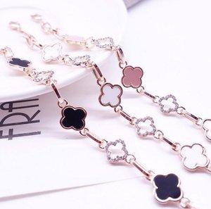 Designer Couleur or 18K Clover Bracelet en cristal coréenne de mode de luxe Charm Bracelet femmes Bijoux fête d'anniversaire cadeau