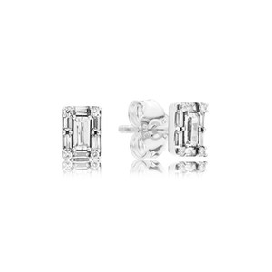 Wholesale- CZ Diamond Shiny Crystal Icicle Stud Earrings 925 Sterling Silver Plated Rose Gold for Pandora Jewelry with Box Lady earring