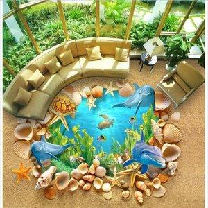 WDBH 3d plancher en pvc photo personnalisée Sous-marine 3D Shell Dolphin Plancher de maison auto-adhésif 3d peintures murales de papier peint pour le salon