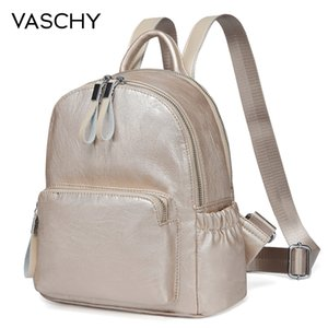 VASCHY Golden Mini Backpack Purse,Vaschy Faux Leather Small Backpack for Women cute bag pack bag kawaii