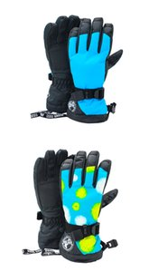 Womens blue ski gloves female colorful thermal riding climbing finger skiing gloves winter outdoor sports gloves waterproof 10K