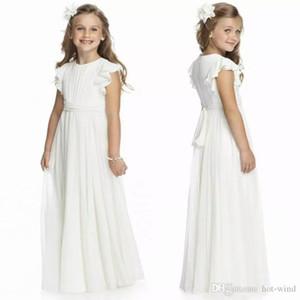 2020 Günstige Ivory mit Rundhalsausschnitt Chiffon Langen Blumen-Mädchen-Kleider falten Erstkommunion Kid Formal Wear Geburtstag Kleider MC1547