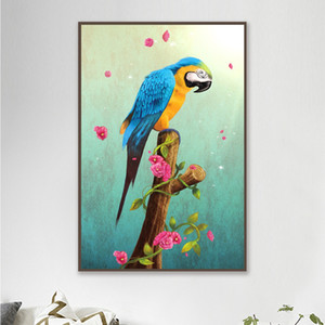 Modern Decorative Canvas Prints Poster Pictures Colorful Parrots Animal Painting Wall Art Prints for Living Room Home Decor 4-8
