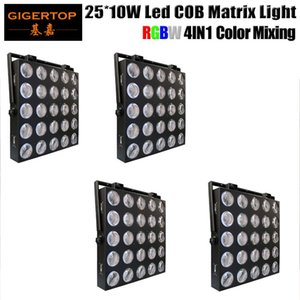 4pcs / Lot 5x5 Rgb Led Cob 25x10w 4in1 RGBW kör Işık Dot Matrix İçin Düğün Disko