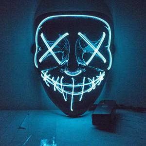 Halloween LED Maske Purge Masken Wahl Mascara Kostüm DJ Party Leuchten Masken Glow In Dark 10 Farben zur Auswahl