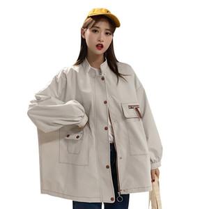 BIUZKO Свободное Полное Рукавное Пальто для Женщин Британский Повседневная Симпатичные Европейские Ветровки в Японском Стиле Harajuku Осень Пальто