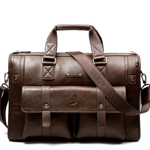 Men's Leather Business Bag Briefcase Shoulder Split Tote Classic Men Messenger Vintage Handbag Computer Travel Large Eotjt