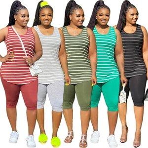 Women Plus Size XL-5XL Casual Stripes Sets Sport Two piece Tracksuit Summer Sleeveless Tops Knee Length Leggings Suit Sweatpants Set