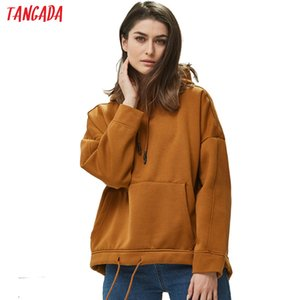 Tangada women fleece Pullovers Sweatshirt Autumn winter 2019 female solid oversize pullovers Casual pocket hooded tops 4M41 Y200706
