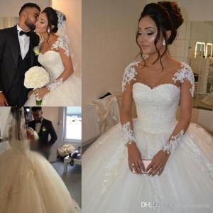 Luxurious Vintage Arabic Wedding Dresses 2019 Sheer Long Sleeves Lace Appliques Plus Size Princess Arabic Bridal Gowns