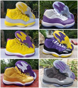 Новый Mamba 11 Белый Бред Metallic Silver Lakers ретро мужские ботинки баскетбола 11s конструктора Спорт кроссовки Trainer Zapatos Размер 40-47