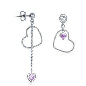 Exquisite Women Dangle Chandelier Earrings Jewelry 925 Sterling Silver Dangle Drop Pink Heart Earrings For Anniversary Valentine Day