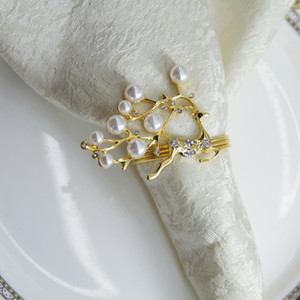 qn19012201 free shipping Silver Gold Reindeer with pearl napkin ring wedding holiday decoration , cheap napkin holder 12 pcs