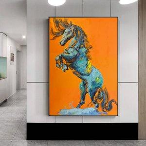 1 Pz moderni Astratto Animali Poster e stampe di arte della parete della tela di canapa stampe salto del cavallo Immagini per Living Room No Frame