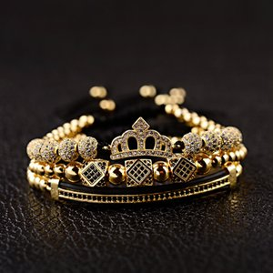 Fashion Jewelry Luxury CZ King Crown Charm Men's Copper Bead Macrame Bracelets Fashion Geometric Long Tube Set Bracelets&Bangles For Women
