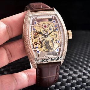 Coleção dos homens novos Cintree Curvex 8880 B S6 SQT D esqueleto transparente de ouro Dial Mens Automatic Watch Rose Case Gold Diamond Bezel Leather