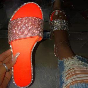Yaz Sandalet Kadınlar Bling Terlik Bayanlar Kristal Sandalias Flats Gladyatör Sandalet Kadınlar Plajı Ayakkabı Sandalia Femme-Ayaklı flop