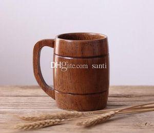 Home Eco-friendly 400ml Classical Wooden Beer Tea Coffee Cup Mug Water Bottle Heatproof Home Office Party Drinkware