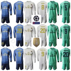 2020 Langarm Fußball Jersey Real Madrid Set 10 Luka Modric 7 Eden Hazard 27 Rodrygo geht 20 Marco Asensio Fußball-Hemd-Kits