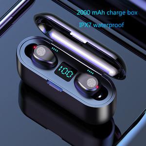 F9 TWS Kulaklık LED Ekran dokunmatik kontrol Kablosuz Kulaklık Bluetooth V5.0 Kablosuz Bluetooth Kulaklık Kulaklık 2000mAh Güç Bankası