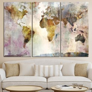 3 패널 세계지도 -2 모듈 유화 캔버스 홈 장식 스칸디나비아 Cuadros 벽 예술 거실 190911