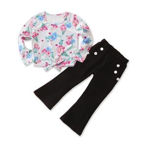 Kinderkleidung Neue Ankunfts-Herbst-Blumen-Tops + Schlaghose Outfit Kinderkleidung Kinderkleidung Kleines Mädchen Kleidung-Mädchen-Set BY1407