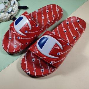 Campeões das mulheres Carta Sandália Homens Verão Chinelo deslizar sobre falhanços Cunha sandálias de praia água da chuva Mules Sapatos 35-44