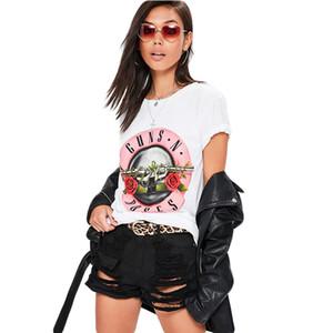 화이트 짧은 소매 총 N 장미 여자 티셔츠 숙녀 여름 칙 캐주얼 느슨한 O 넥 락 펑크 그래픽 인쇄 티 셔츠 Y19060601