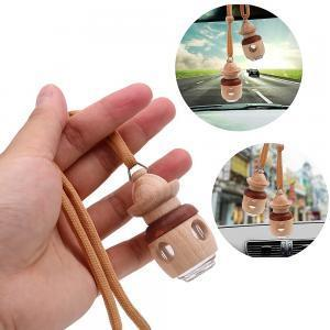 Air Freshener Fragrances Car Hanging Perfume Bottle Empty Glass Bottle Wooden Cap For Essential Oils Diffuser GGA1521