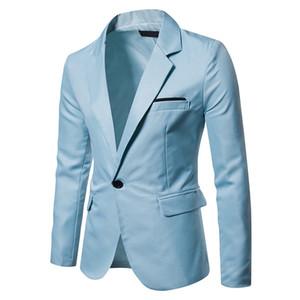 Primavera Hombre V Cuello Blazer Moda Trajes de manga larga con bolsillos Invierno Hombre Ropa de color sólido