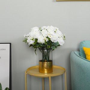 12 Chefes artifcial Peony Hydrangea Bouquet de flores no atacado de seda linda Rose flores para mesas de casamento Centerpiece Decoração