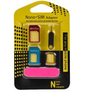 Teléfono al por mayor con adaptador de SIM adaptador MICROSIM de 4 piezas traje con Nano SIM y removedor expulsa el Pin PIN de tarjeta SIM