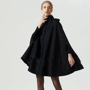 Bohoartist Женщины Черные Шерстяные Пальто Накидки Пальто Свободные Повседневная Пончо Мода Осень Зима Пальто Женский Горячий Верх Пальто Кейп
