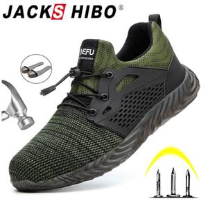 Erkekler Erkek Sonbahar Nefes İş Ayakkabıları Çelik Burun İndestructible Emniyet Çalışma Boots için Jackshibo Emniyet Ayakkabı Çizme