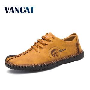 VANCAT 2018 nuevo y confortable grandes del tamaño 38-46 de los zapatos ocasionales de los holgazanes de los hombres zapatos de calidad Dividir los zapatos de cuero de los planos de los mocasines