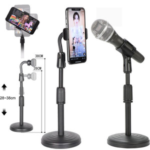 Universal phone Photo Studio Selfie holder Live Streaming Phone Holders mic stand adjustable Phone Desktop mounts Stand