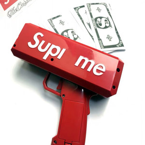 supreme money gun homens Caixa canhão dinheiro Gun Brand new dólar dinheiro conta arma legal Caixa Lançador de partido vermelho Car Interior Detalhes no frete grátis