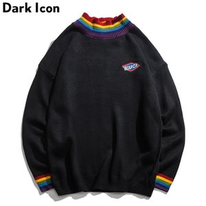 Dark Icon Rainbow Collar Pullover Sweater para hombres 2019 Winter Loose Style Sweater para hombres High Street Sweaters Negro Blanco SH190903
