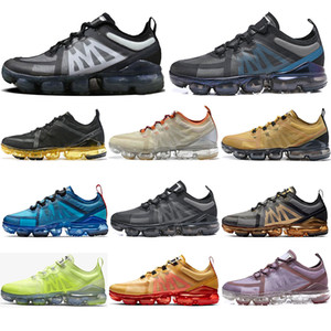 Nike Air VaporMax 2019  Kostenlose Socken 2019 Top-Qualität Fly Racer Frauen Männer Laufschuhe Volt Gold Schwarz Blau Leichte atmungsaktive athletische Outdoor-Turnschuhe