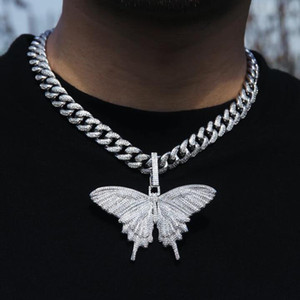 de haute qualité dégelée à des étincelles hip-hop bling femmes bijoux hommes choker 5 mm cz chaîne de tennis collier papillon cz rose d'argent d'or